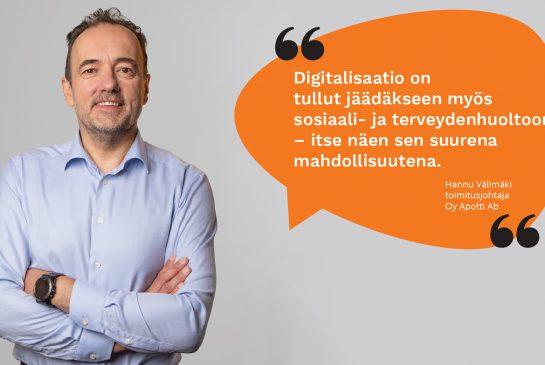 Hannu Välimäki ja puhekupla, jossa lyhyt lainaus blogitekstistä.